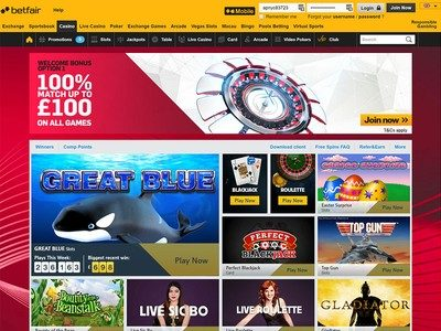 what are the gaming categories of betfair casino review
