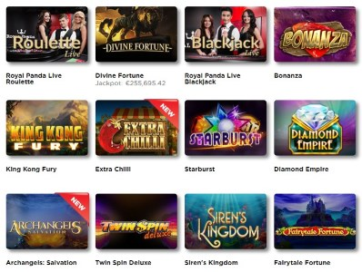 You can find a large variety of games at the Royal Panda casino website!
